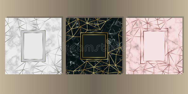 Luxury Marble Cover Set with Geometric Elements stock illustration