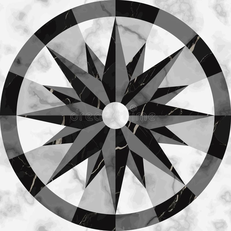 Free Luxury Marble Mosaic Compass Sign Seamless Pattern Royalty Free Stock Images - 132754019