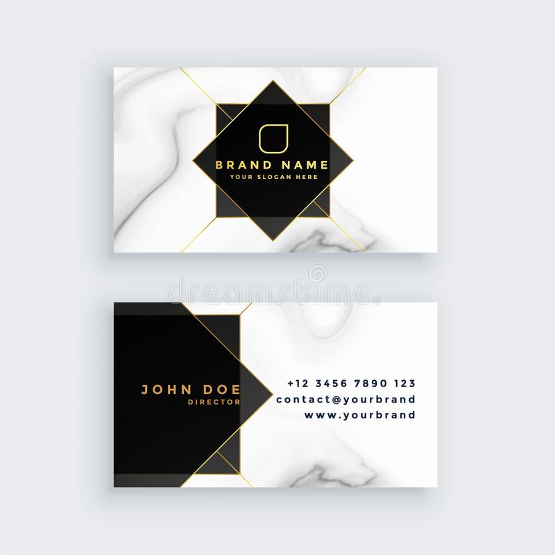 Luxury marble style black and white business card. Vector royalty free illustration