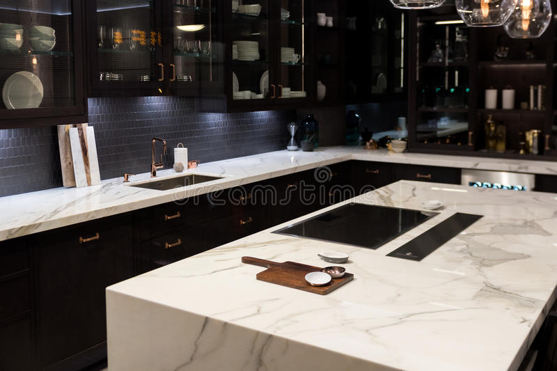 Kitchen Marble Top Luxury marble top kitchen stock photo image of furnished 62537758 bespoke high quality kitchen with large marble counter top sisterspd