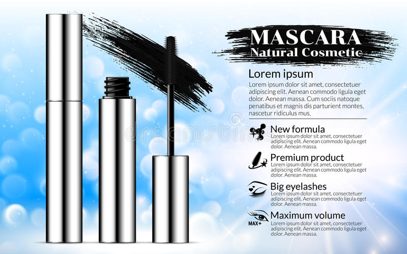 Luxury mascara brush silver package with eyelash applicator Cosmetics Advertising Banner Billboard Poster Catalog. Package Design stock illustration