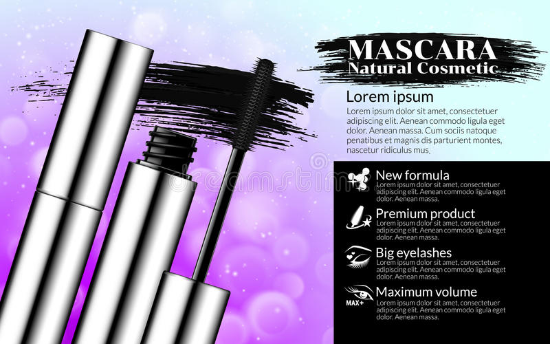 Luxury mascara brush silver package with eyelash applicator Cosmetics Package Design Promotion Product pink background vector illustration