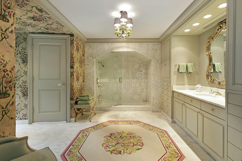 Luxury Master Bath With Marble Shower Stock Photo