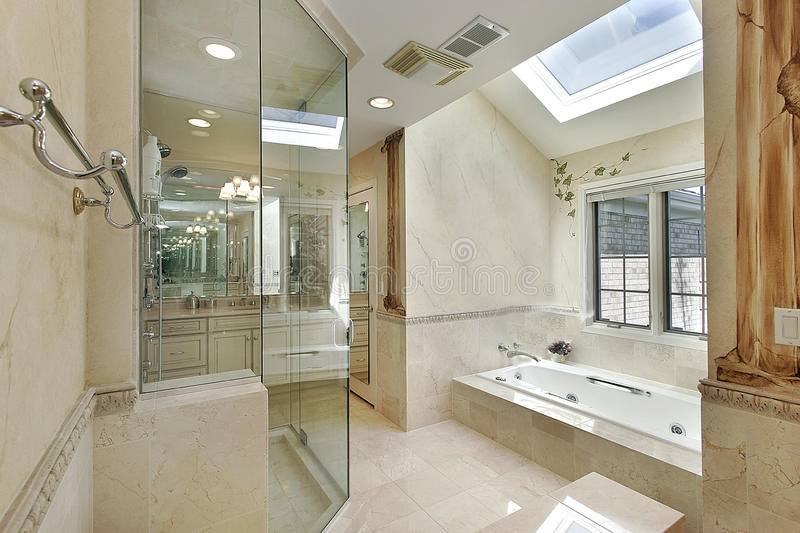 Luxury master bath with skylight stock images