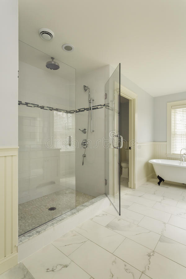 Luxury Master Bathroom With Enclosed Glass Shower Stock Photo Image Of Fixture Bathroom 32371158