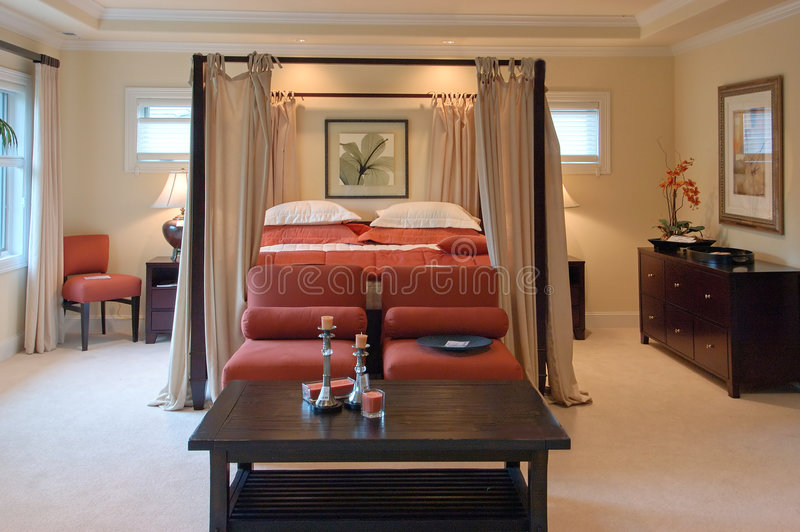 Luxury master bedroom stock photography