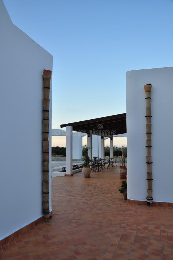 Luxury mediterranean hotel. Modern architecture traditional style stock photo