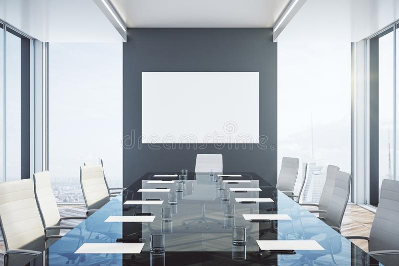 Luxury meeting room with blank poster stock illustration