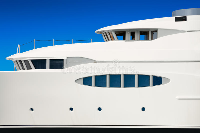 Luxury mega yacht. Detail of luxury mega yacht royalty free stock photos