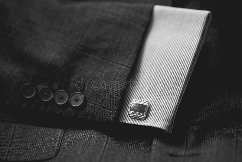 Luxury men`s cufflinks. Close up stock photography