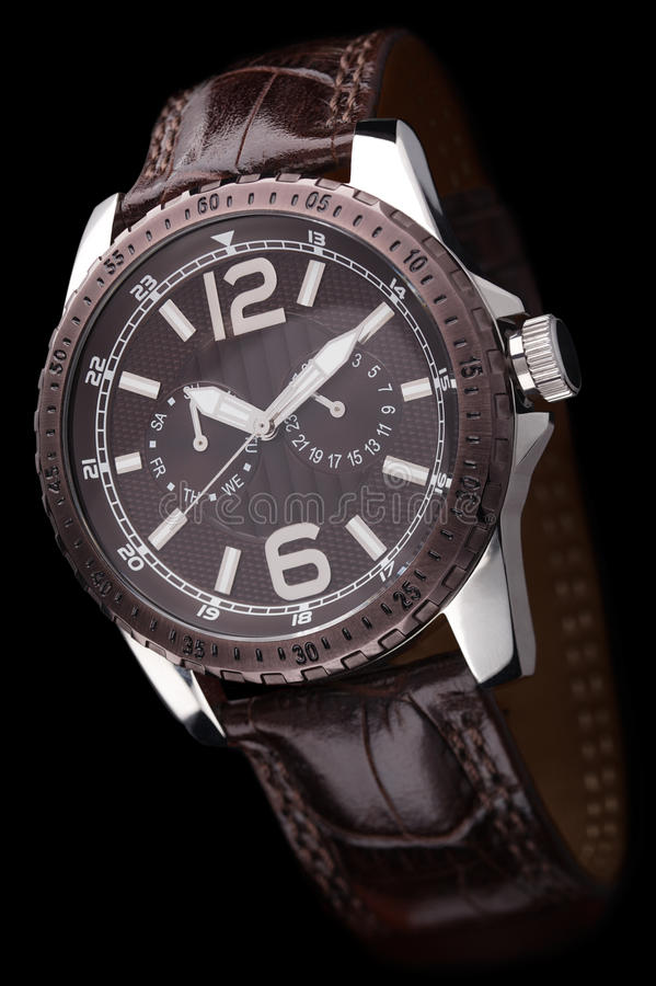 Luxury mens watch on black background stock photos
