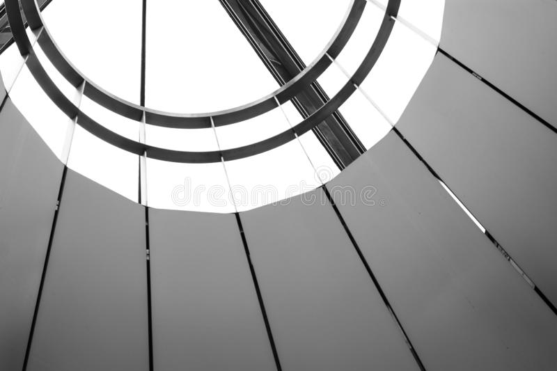 Luxury metal ceiling structure. Monochrome stock images
