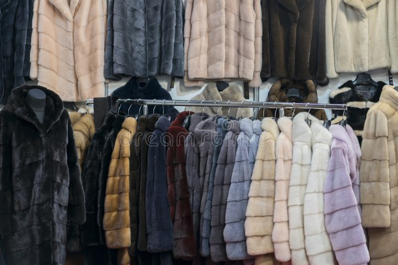 Luxury mink coats. Pink, grey, dark grey, pearl color fur coats on showcase of market. Best gift for a woman. Outerwear. Close up stock photography