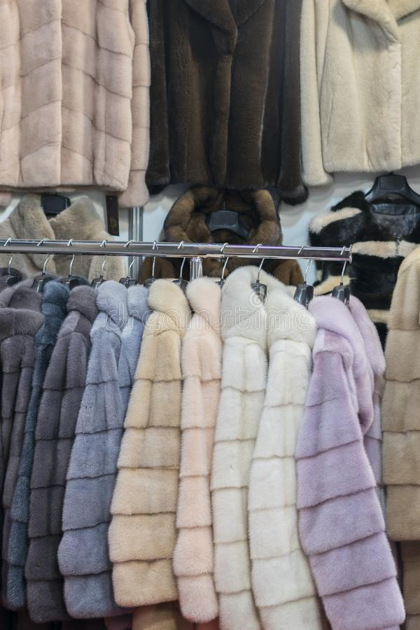 Luxury mink coats. Pink, grey, dark grey, pearl color fur coats on showcase of market. Best gift for a woman. Outerwear. Close up stock photo