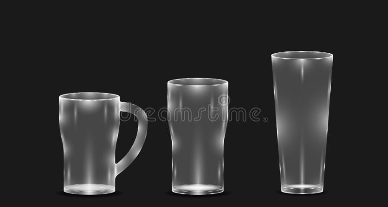 Luxury mockup realistic glasses different size for drink beer alcohol water. vector illustration eps10 stock illustration
