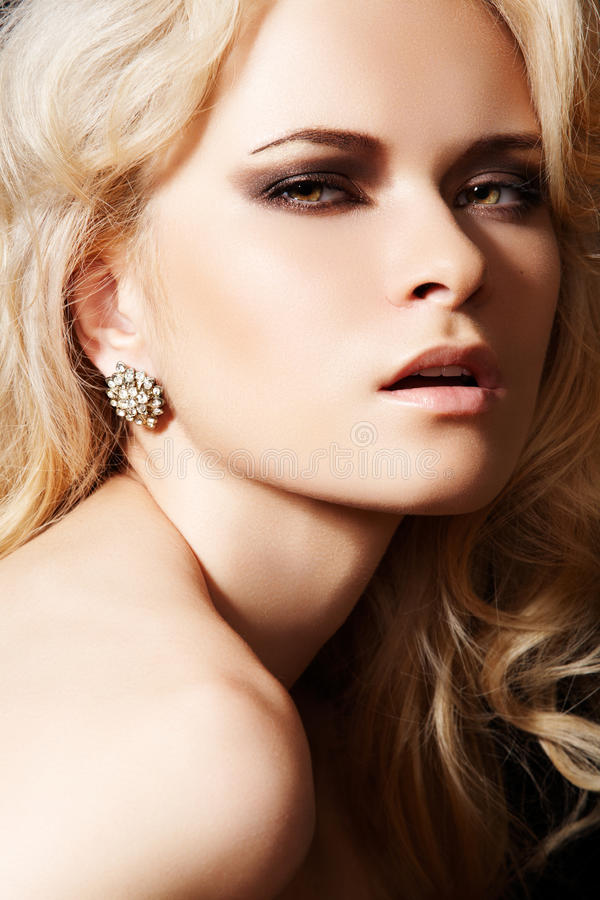 Download Luxury Model With Diamond Earrings And Blond Hair Stock Image - Image: 16498093