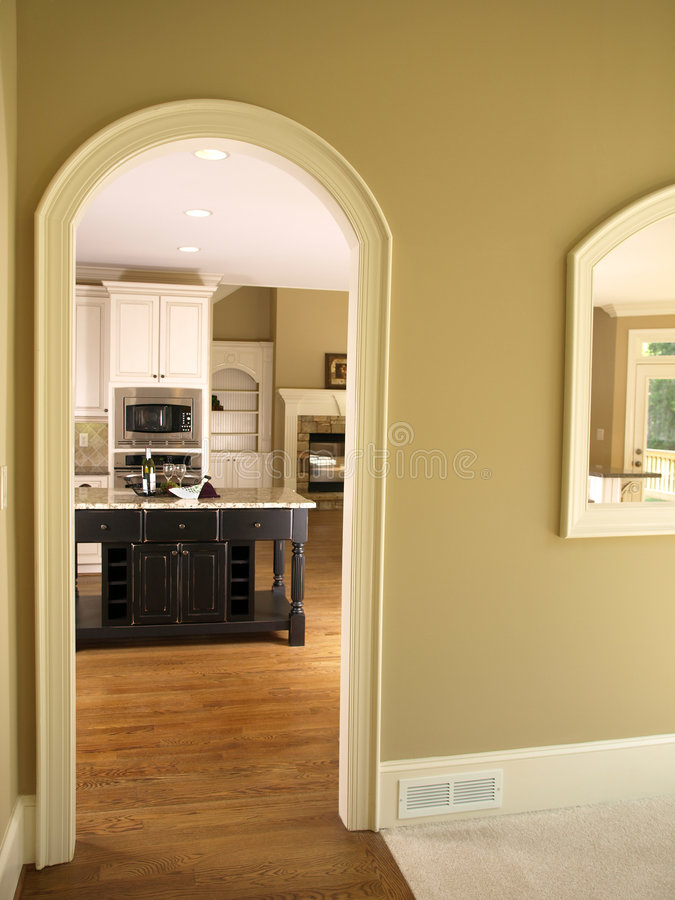 High Quality Download Luxury Model Home Kitchen Arch Door Stock Photo   Image Of  Hardwood, Counter: