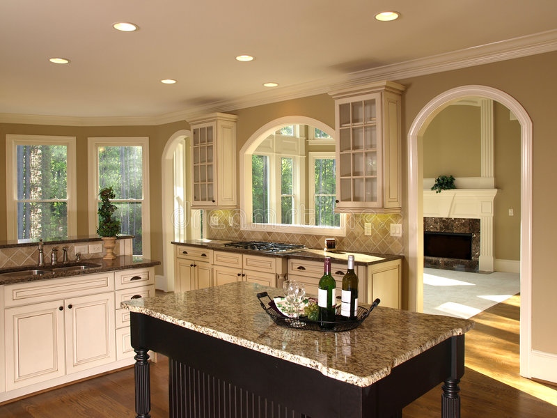 Luxury Model Home Kitchen Island stock image