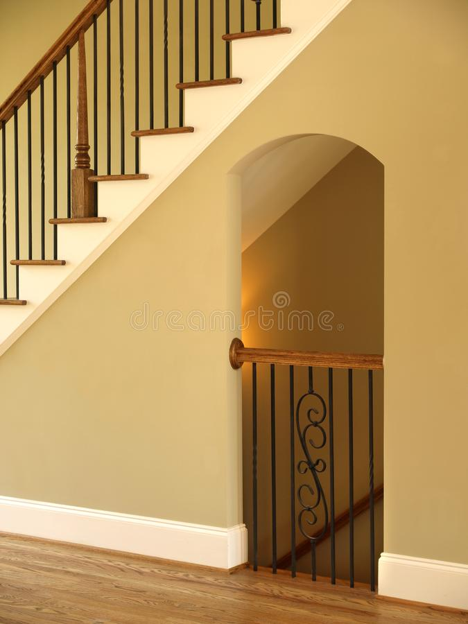 Luxury Model Home Staircase and Lit opening stock photo