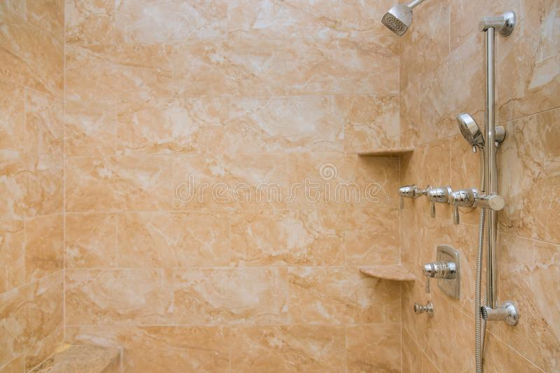 Luxury modern bathroom with shower and massage feature stock photography