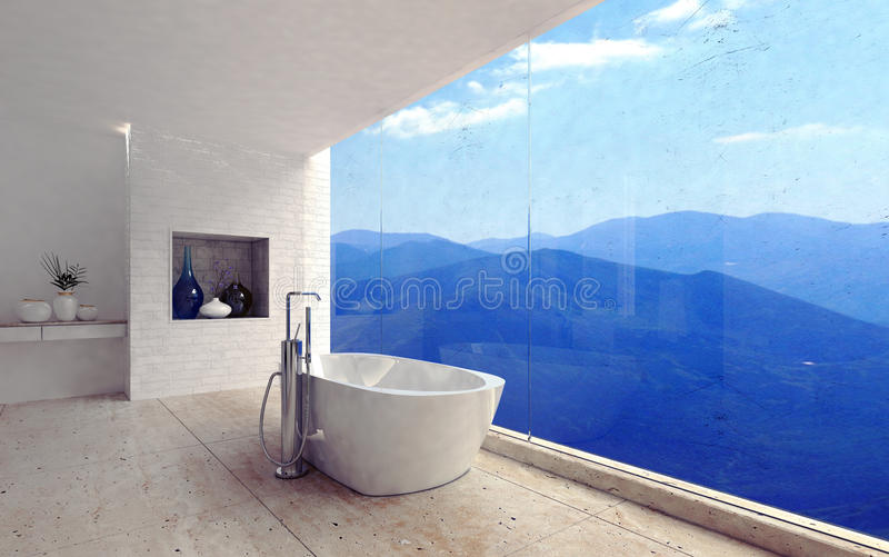 Luxury modern bathroom with a spectacular view stock illustration