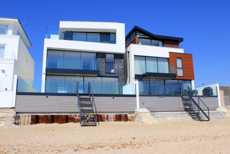Luxury modern beach homes stock image
