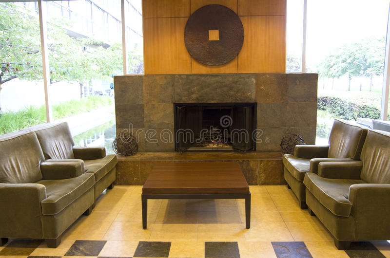 Luxury modern hotel fireplace stock photos