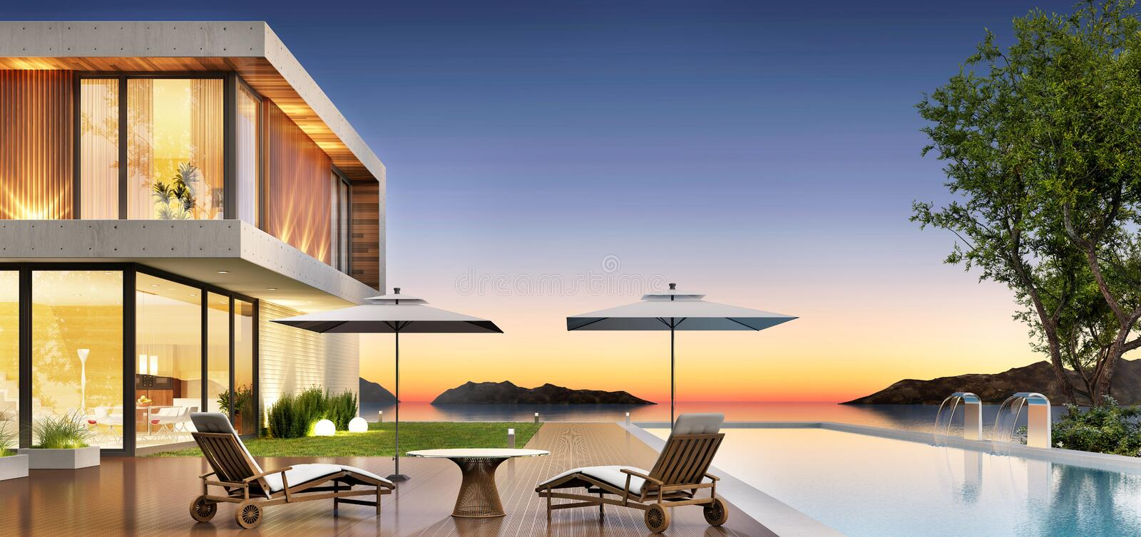 Luxury house with pool and terrace for relaxing stock images