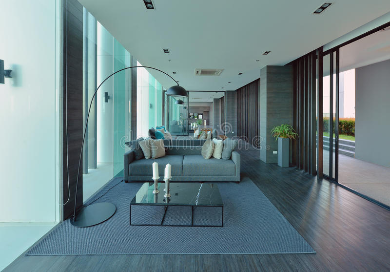 luxury modern living room interior and decoration, interior design stock photography