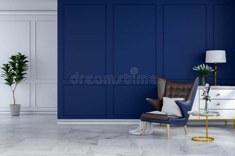 Luxury modern room interior design,blue lounge chair with white lamp and white sideboard on blue wall /3d render. Luxury modern room interior,blue lounge chair stock illustration
