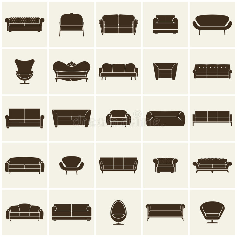 Download Luxury Modern Sofa And Couch Icons Set. Vintage Furniture  Collection Stock Vector   Illustration