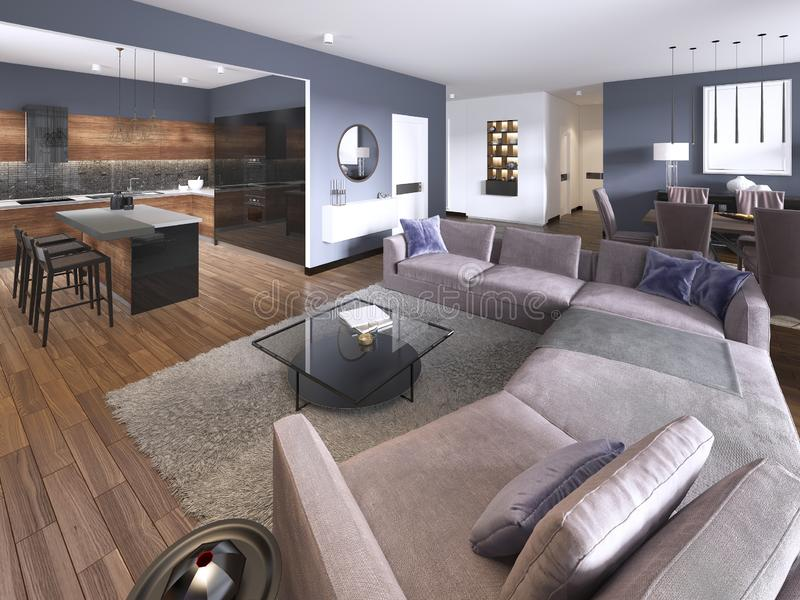 Luxury modern studio apartment spacious lounge with multicolored furniture and decor below tall bright windows with TV storage and. Consol. 3d rendering vector illustration