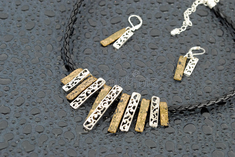 Download Luxury Modern Two Metal Necklace Stock Photo - Image: 21849320