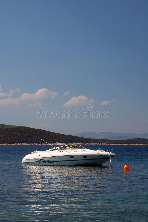 Luxury motor boat stock photos