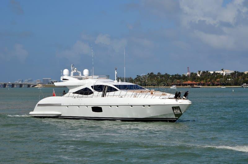 Luxury Motor Yacht Waiting for Draw Bridge of Open royalty free stock photos