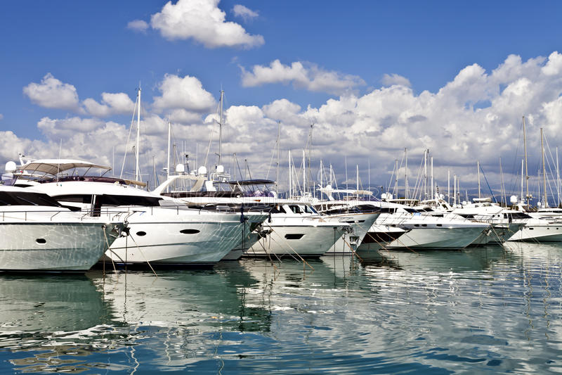 Luxury motor yachts stock image