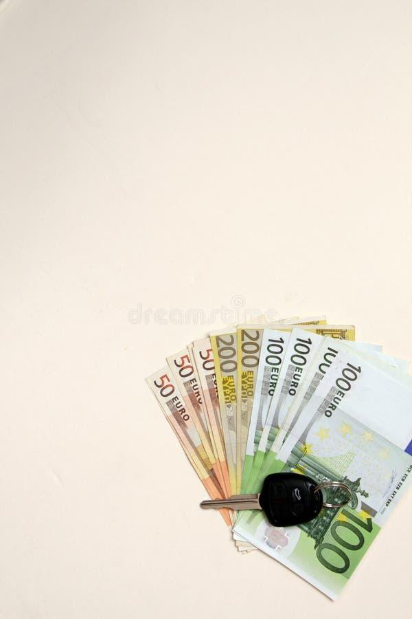 Luxury New Car key on Euro Banknotes background.Concept photo of money, banking. Car key on Euro money background.Concept photo of money, banking ,currency and royalty free stock photo
