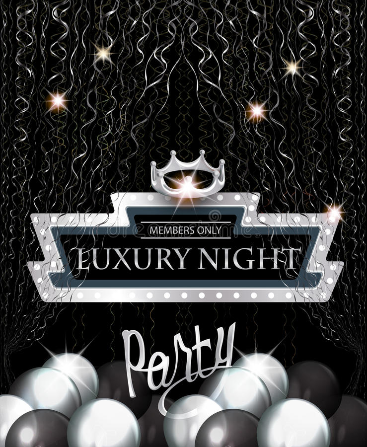 Free Luxury Night Party Invitation Card With Retro Frame, Silver Serpentine, Air Balloons And Crown. Stock Images - 85591584