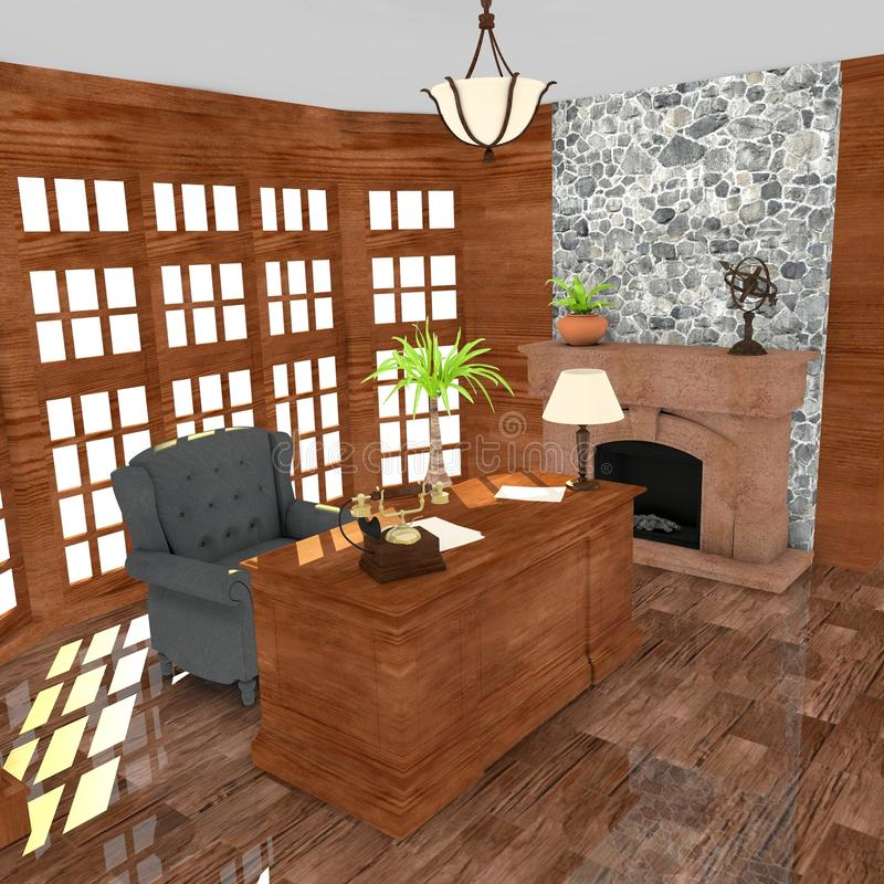 Luxury office. 3d render of luxury office royalty free illustration