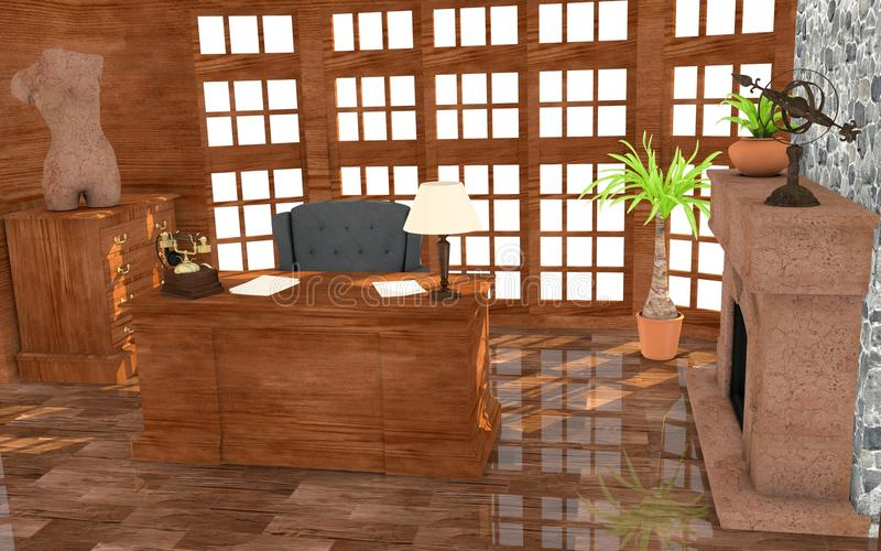 Luxury office. 3d render of luxury office stock illustration