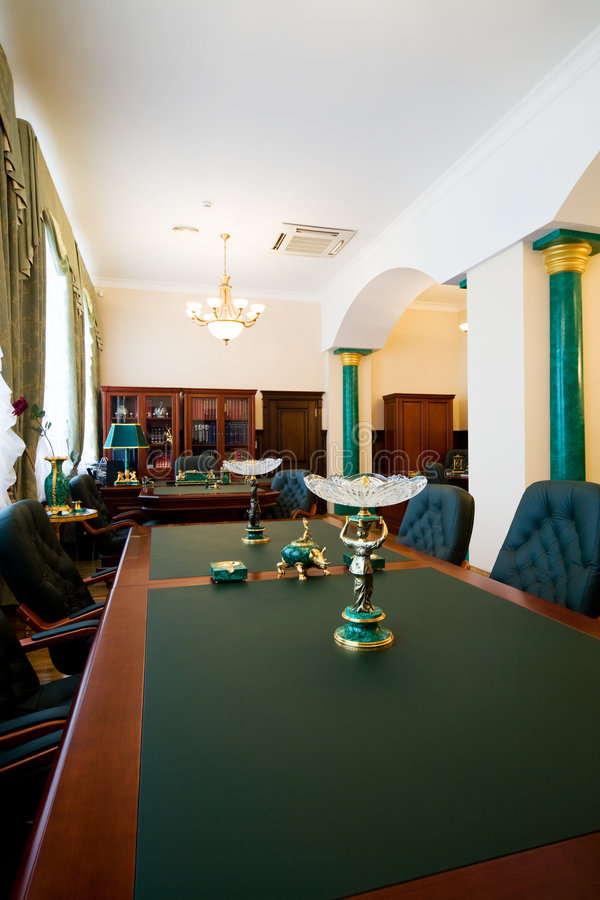 Luxury office. Modern and luxury office with antiquarian subjects stock images