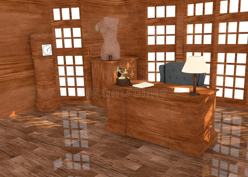 Luxury office interior. 3d render of luxury office interior stock illustration