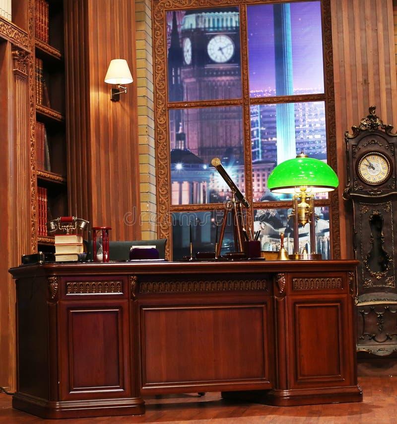 Luxury office interior. Luxury wooden office or home interior stock photo