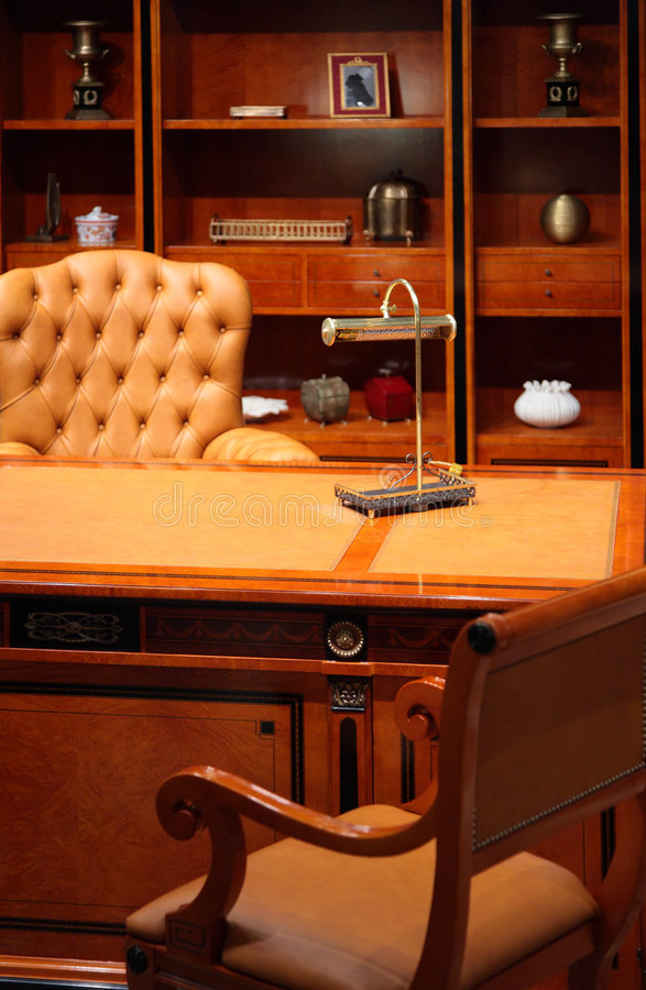 Luxury office interior. On brown color stock photography