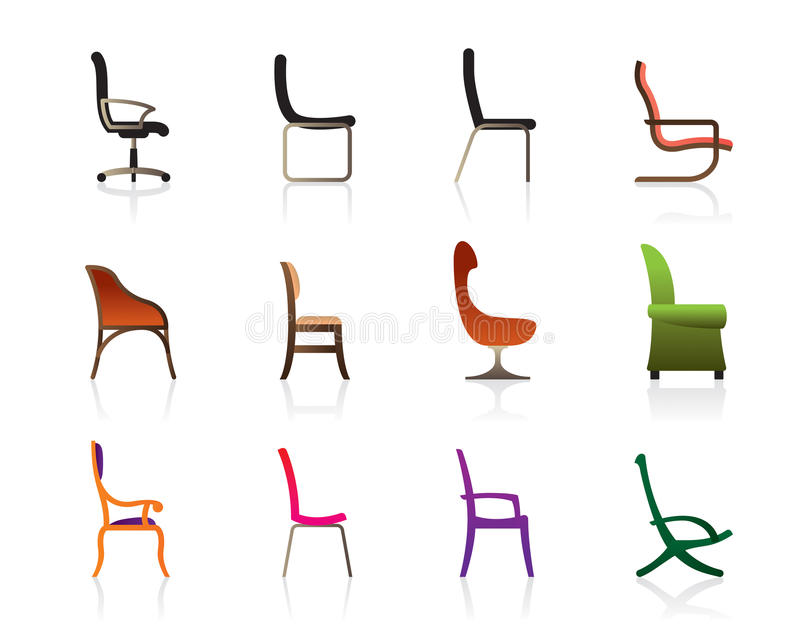 Luxury, office and interior chairs. Luxury, office, interior and plastic chairs - illustration stock illustration