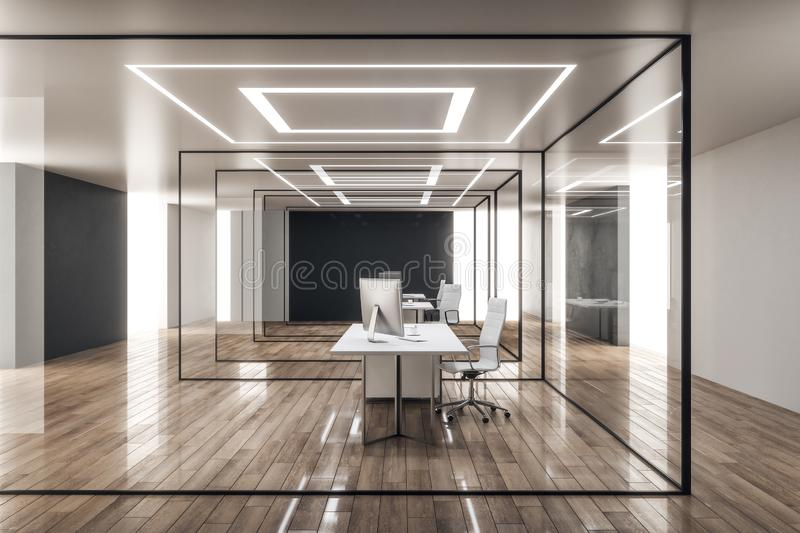 Luxury office interior. With glass walls and workplace. 3D Rendering stock illustration