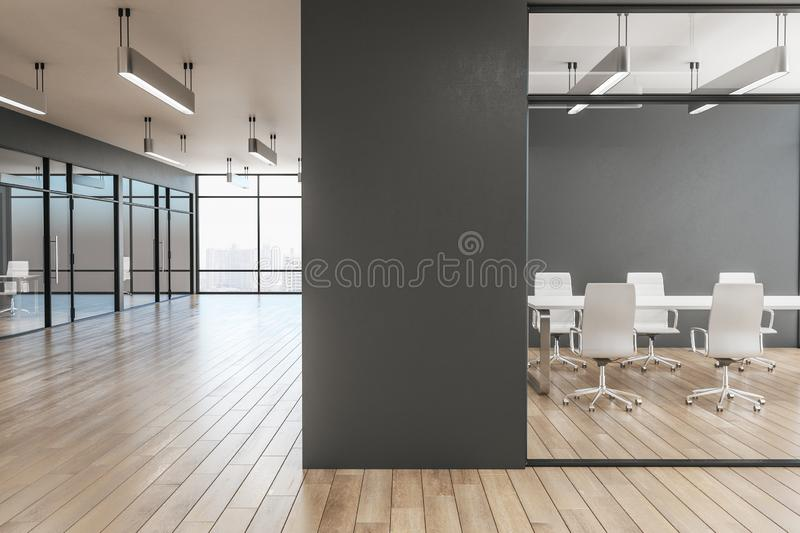 Luxury office interior. With glass, wooden floor, furniture, city view and daylight. 3D Rendering vector illustration