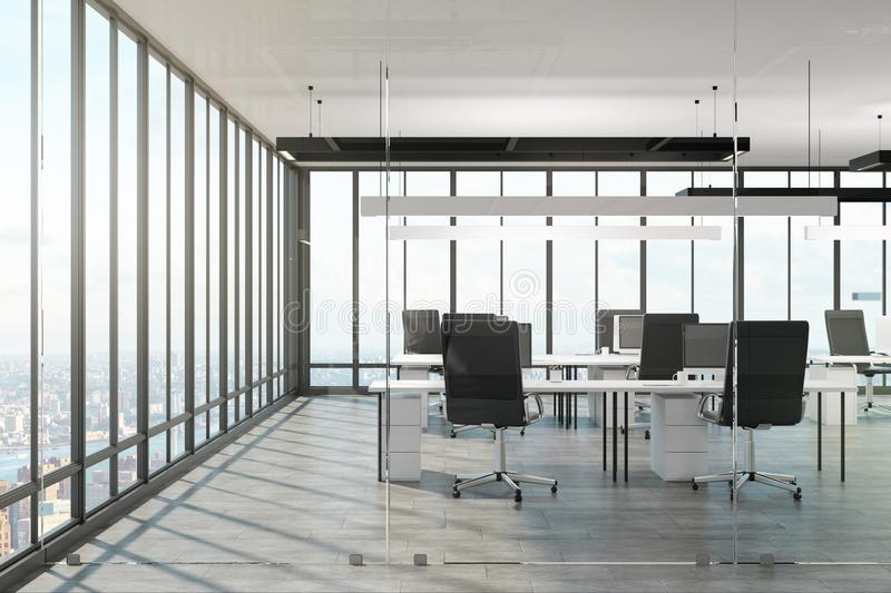 Luxury office interior. With panoramic city view and daylight. 3D Rendering vector illustration