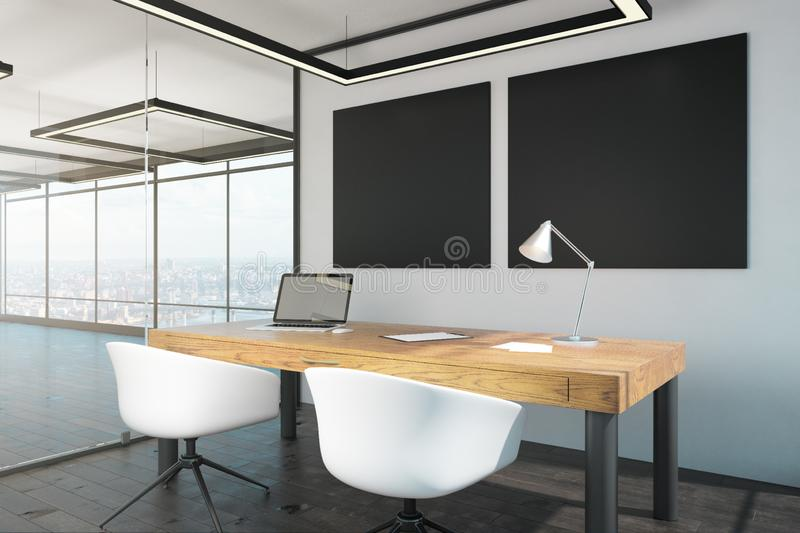 Luxury office interior with poster. Luxury office interior with empty poster and panoramic city view. Mock up, 3D Rendering vector illustration