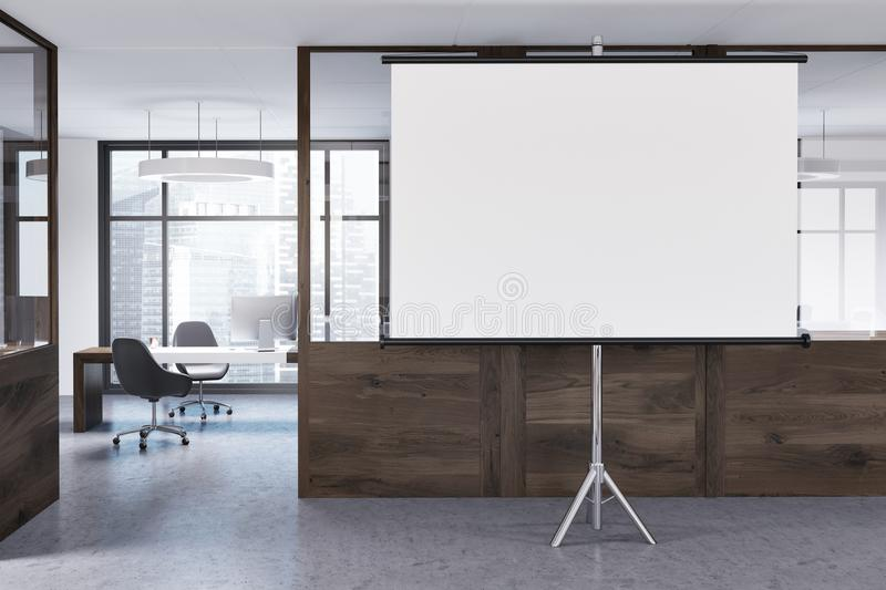 Luxury office interior, screen. White and wooden wall office interior with loft windows, a concrete and wooden floor and rows of computer tables. A mock up stock illustration